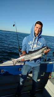 Mike with a early morning King Salmon.