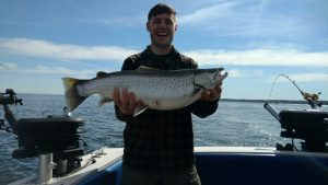 Football Brown Trout Taken by Ethan from Maine aboard The Proteus off Oswego thus morning !